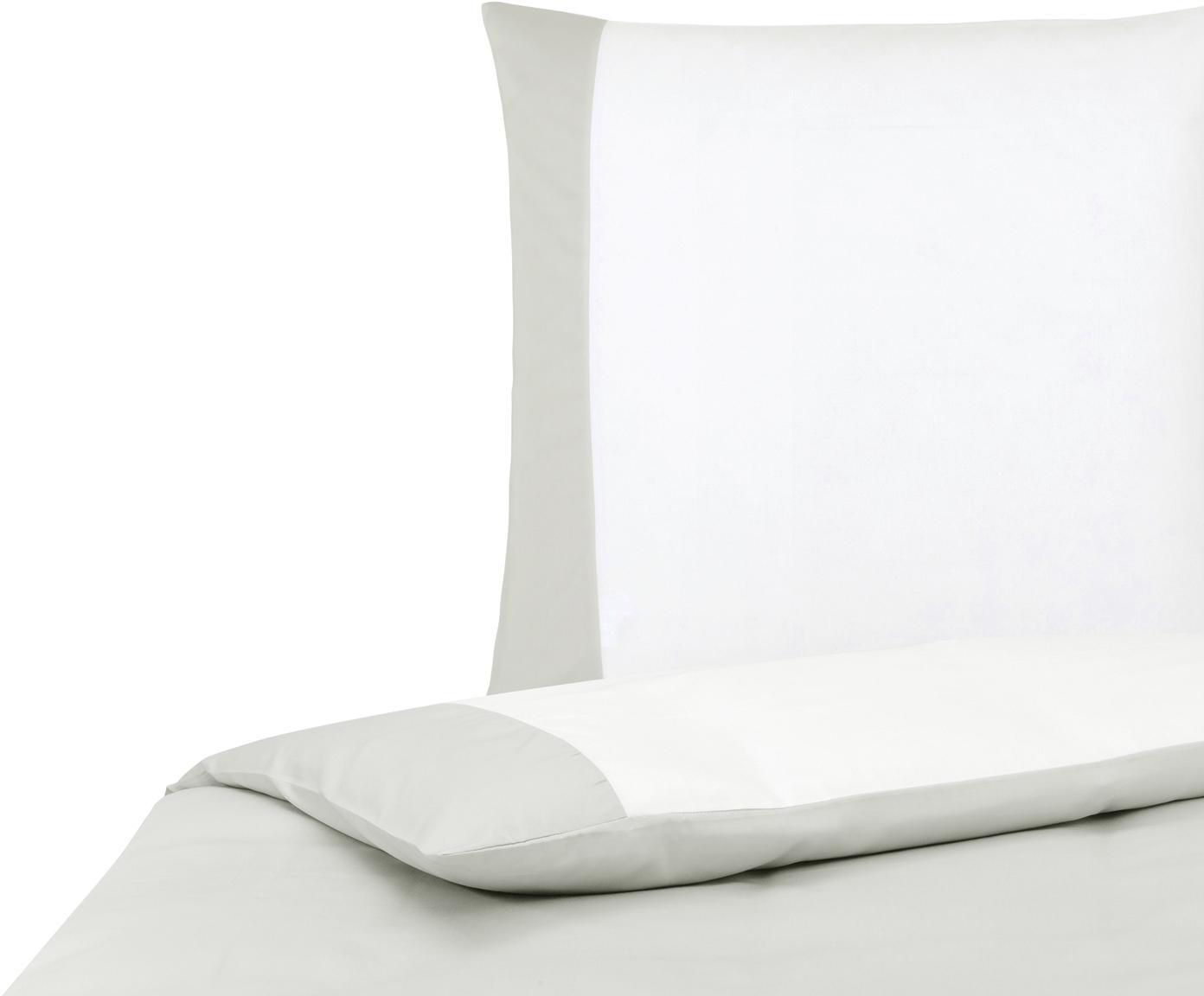 Dwustronna pościel satyny bawełnianej Amelia, Biały, jasny szary, 135 x 200 cm