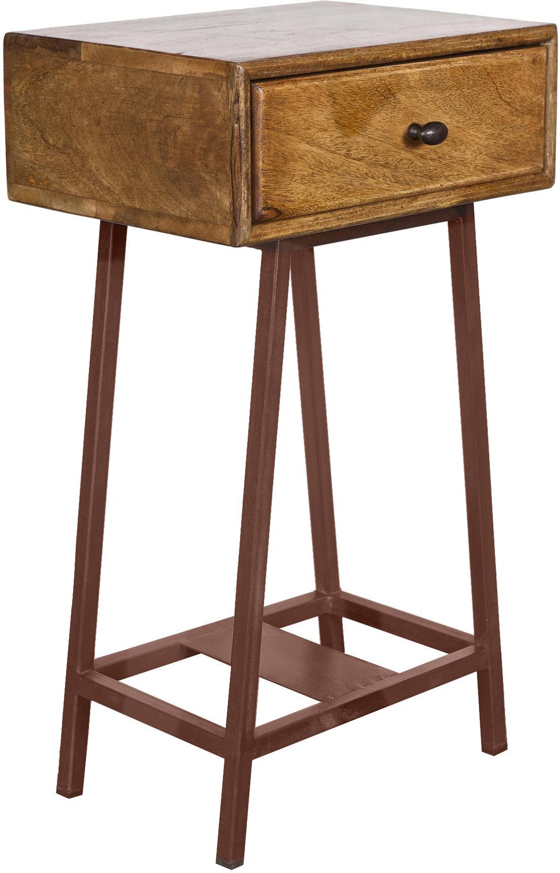 Tavolino con cassetto Skybox, Legno di pino, marrone ruggine, Larg. 40 x Alt.70 cm