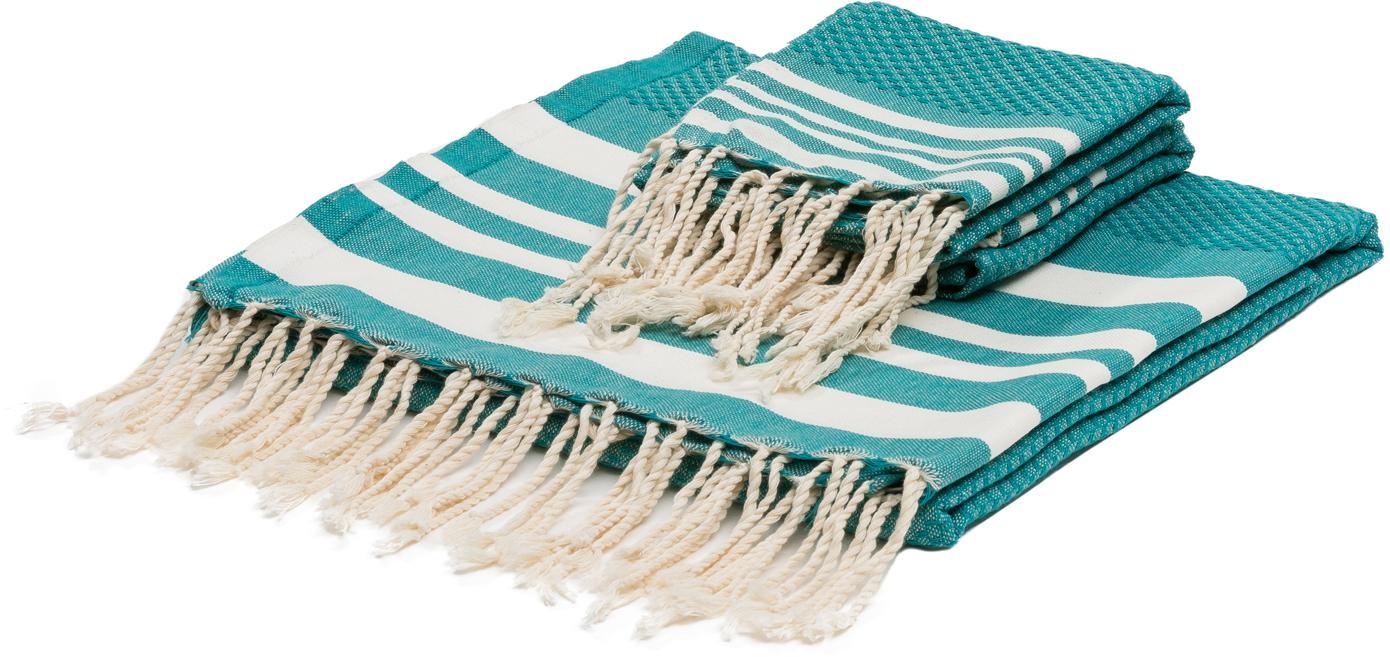 Set 3 asciugamani Hamptons, Verde turchese, bianco, Set in varie misure
