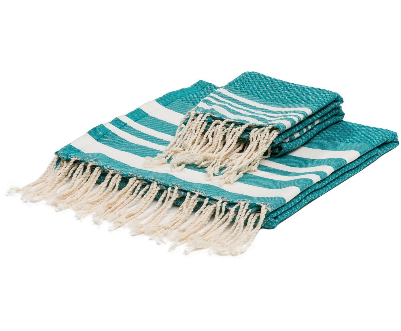 Set 3 asciugamani Hamptons, Verde turchese, bianco, Diverse dimensioni