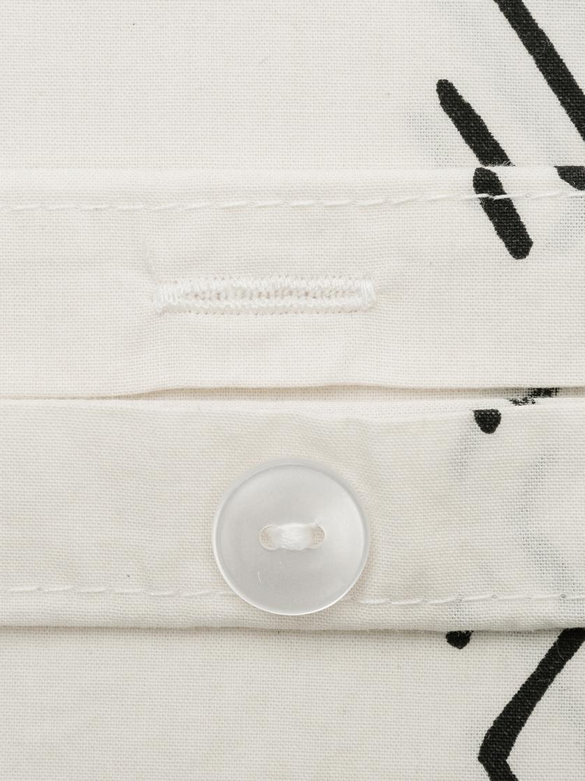Gewaschene Baumwoll-Bettwäsche Kohana im Boho Style, Webart: Perkal Fadendichte 180 TC, Ecru, Schwarz, 135 x 200 cm + 1 Kissen 80 x 80 cm