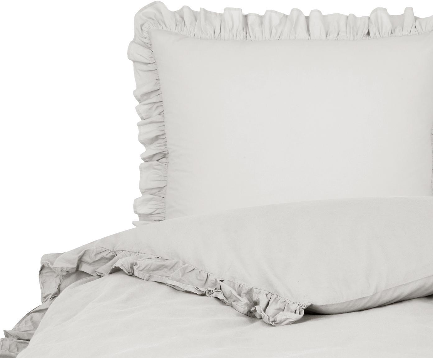 Gewaschene Baumwoll-Bettwäsche Florence mit Rüschen, Webart: Perkal Fadendichte 180 TC, Hellgrau, 135 x 200 cm + 1 Kissen 80 x 80 cm