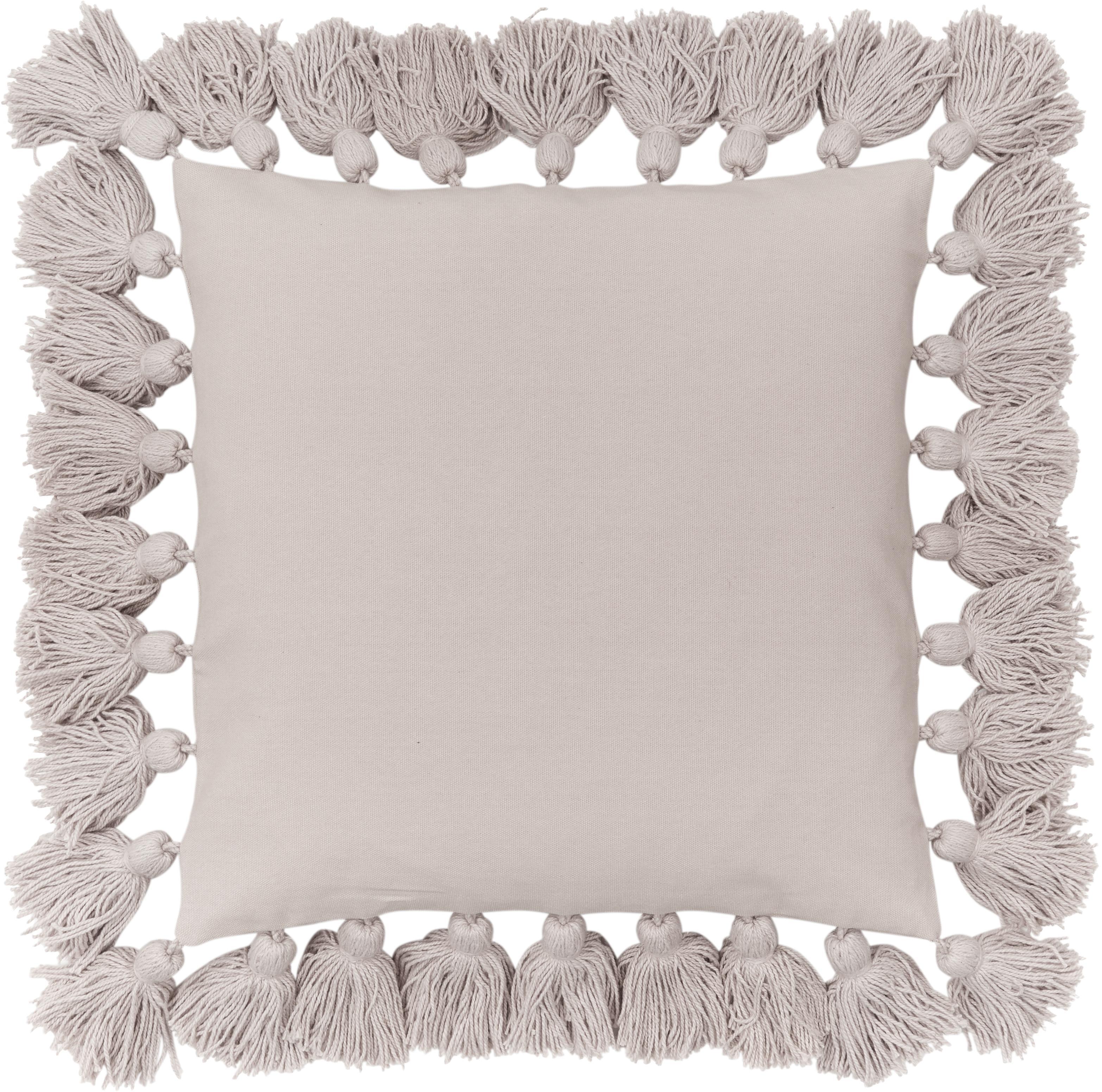 Kissenhülle Shylo mit Quasten, 100% Baumwolle, Beige, 40 x 40 cm