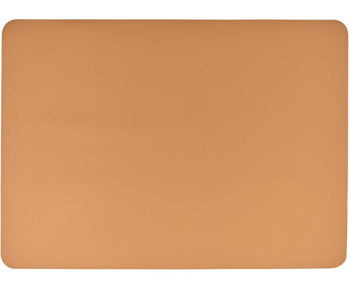 Kunststoffen onderzetters Pik in leerlook, 2 stuks, Kunststof (PVC) in leerlook, Caramelkleurig, 33 x 46 cm