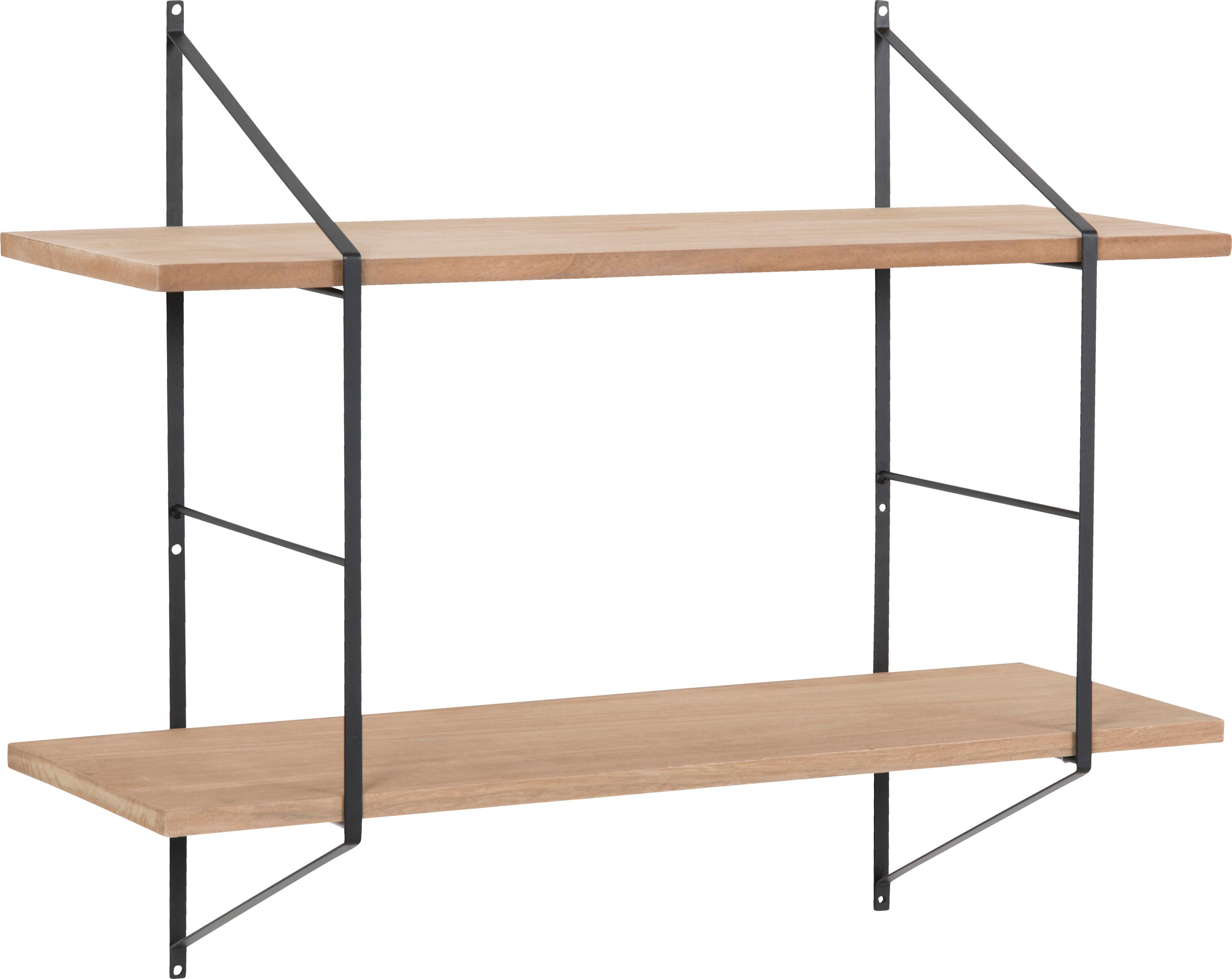 Mała półka ścienna z drewna i metalu Belfast, Stelaż: metal, malowany proszkowo, Stelaż: czarny Półki: drewno paulownia, olejowane, S 76 x W 63 cm