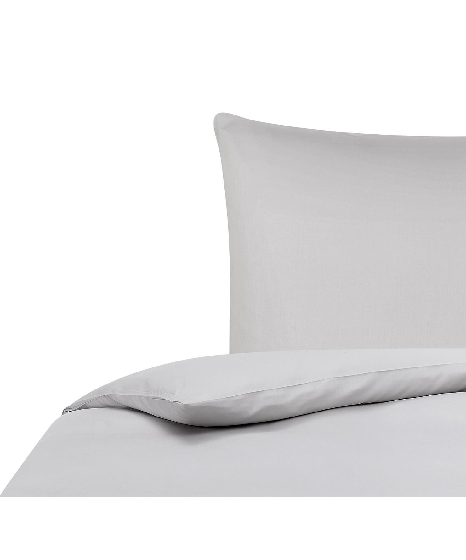 Bambus-Bettwäsche Skye in Grau, 55% Bambus, 45% Baumwolle  Fadendichte 400 TC, Premium Qualität  Bambus ist hypoallergen und antibakteriell. Daher eignet das Material sich hervorragend für empfindliche Haut. Es ist amungsaktiv und absorbiert Feuchtigkeit, um so die Körpertemperatur im Schlaf zu regulieren., Grau, 155 x 220 cm + 1 Kissen 80 x 80 cm