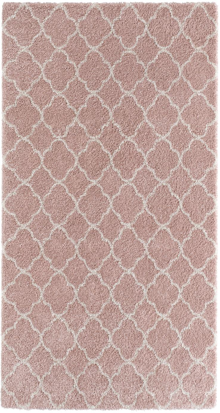 Hoogpolig vloerkleed Grace in roze/crème kleur, Bovenzijde: polypropyleen, Onderzijde: jute, Oudroze, crèmekleurig, B 80 x L 150 cm (maat XS)