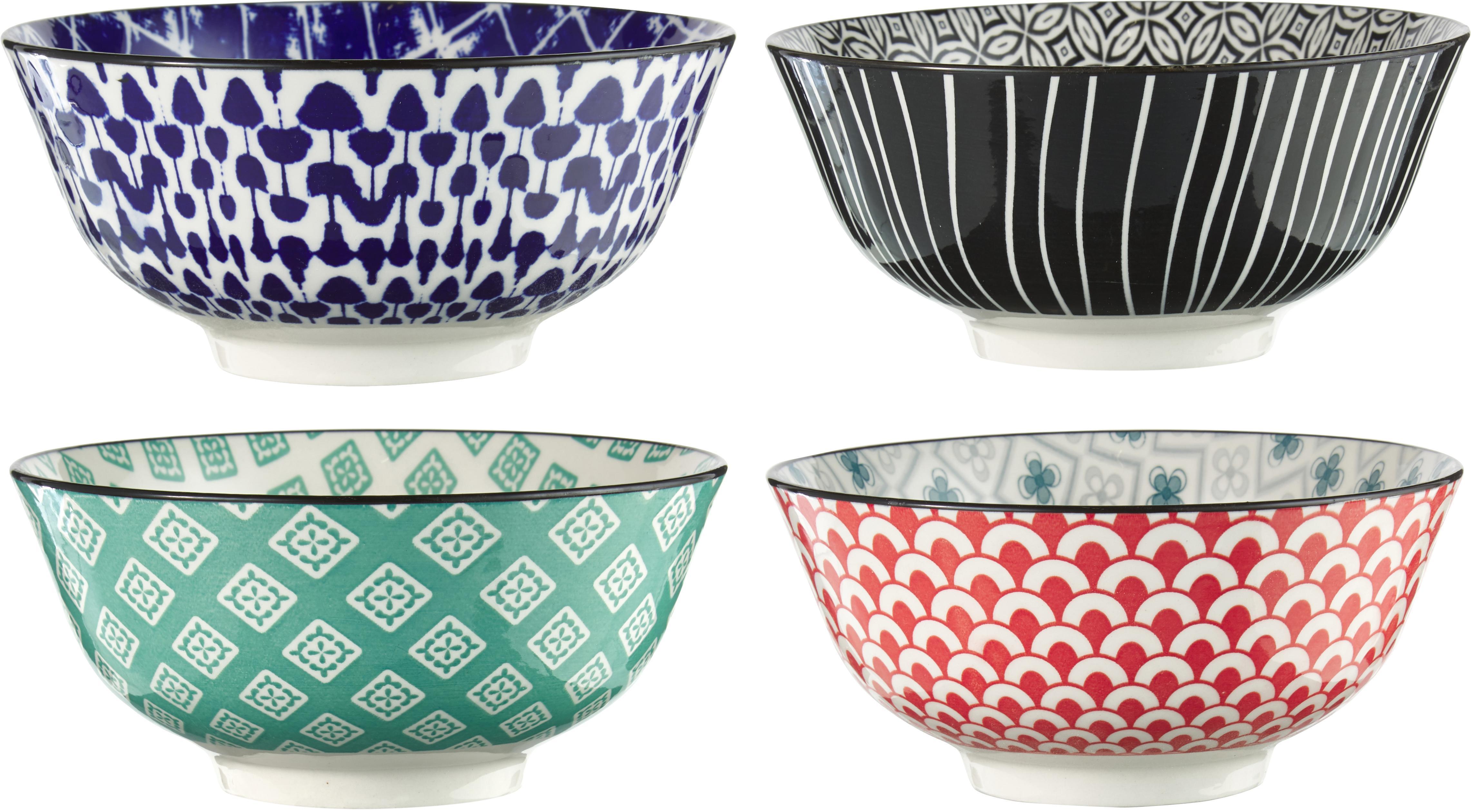 Set ciotole Oriental 4 pz, Terracotta, Multicolore, Ø 16 x Alt. 7 cm