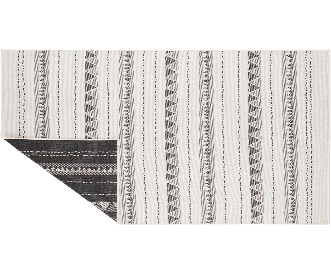 Dubbelzijdig in- & outdoor vloerkleed Bahamas, Polypropyleen, Zwart, crèmekleurig, B 80 x L 150 cm (maat XS)