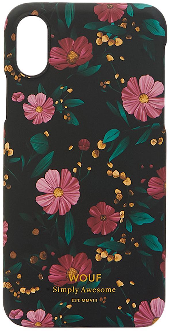 Cover  per iPhone X Black Flowers, Silicone, Multicolore, Larg. 7 x Alt. 15 cm