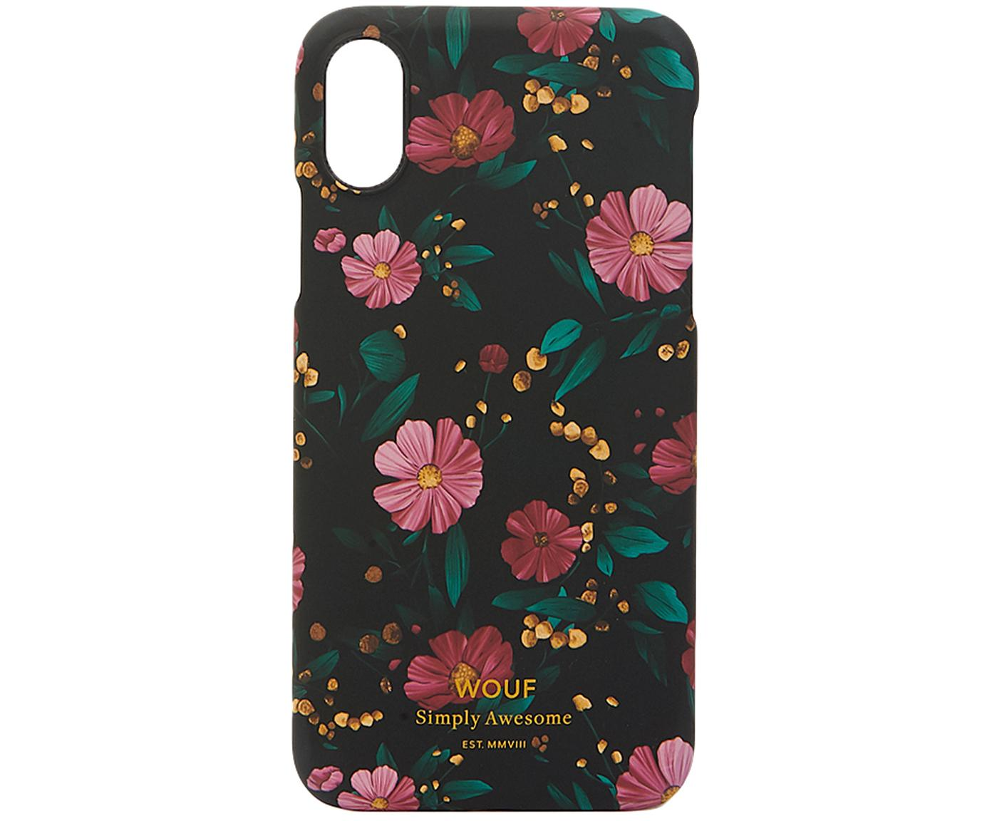 Funda para iPhoneX Black Flowers, Silicona, Multicolor, An 7 x Al 15 cm