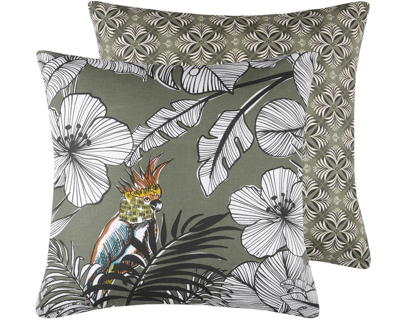 Wendekissen Guatemala mit tropischem Print, mit Inlett, Bezug: Baumwolle, Khaki, Weiß, Senfgelb, 45 x 45 cm