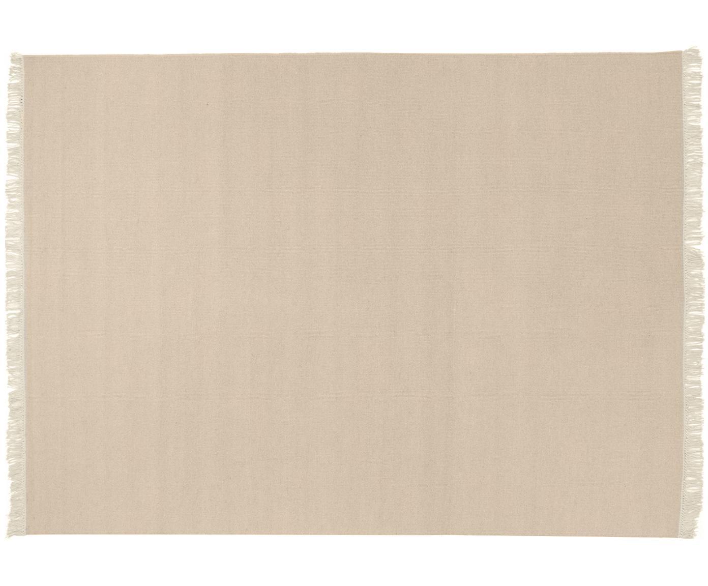 Handgeweven wollen vloerkleed Rainbow in beide met franjes, Bovenzijde: wol, Onderzijde: katoen, Zandkleurig, B 140 x L 200 cm (maat S)