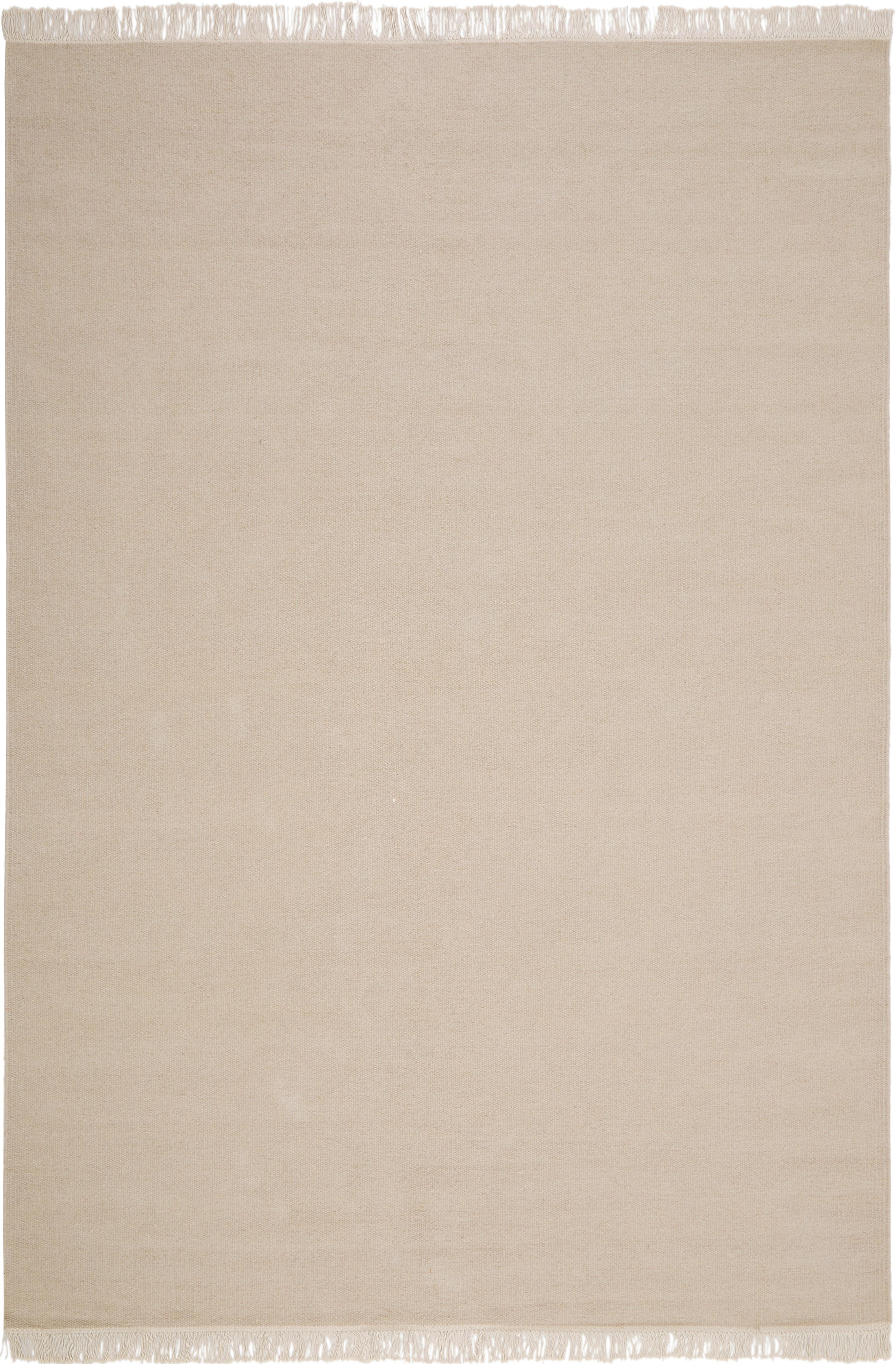 Tappeto in lana tessuto a mano con frange Rainbow, Retro: cotone, Sabbia, Larg. 140 x Lung. 200 cm (taglia S)