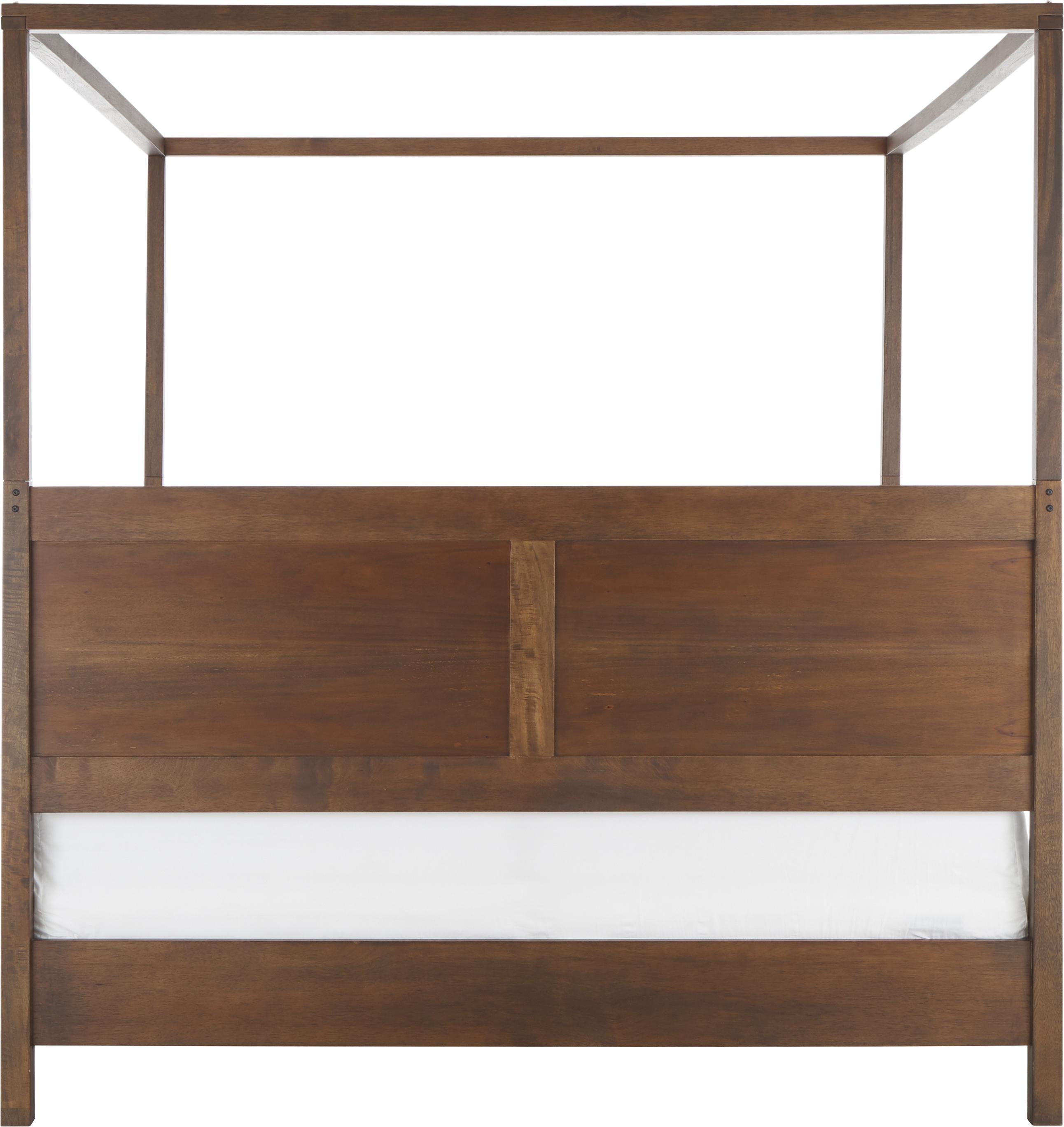 Letto a baldacchino in legno Retreat, Legno di mango con pezzi impiallacciati di teak, mogano, legno di mindi, Tonalità marrone scuro, 180 x 200 cm