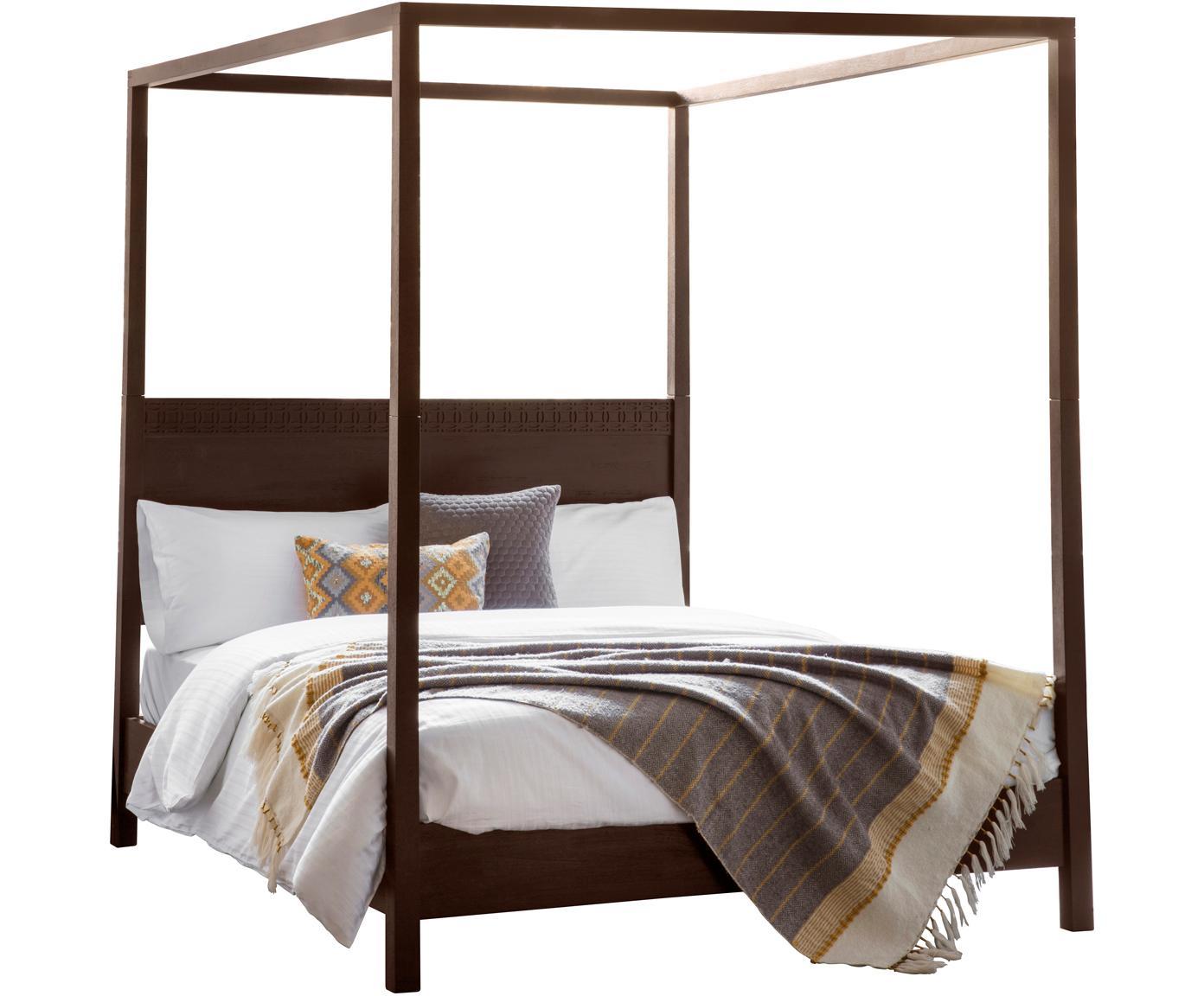 Łóżko  z drewna z baldachimem Retreat, Drewno mangowe z fornirowanymi kawałkami drewna tekowego, drewno mahoniowe, drewno mindi, Odcienie ciemnego brązowego, 180 x 200 cm