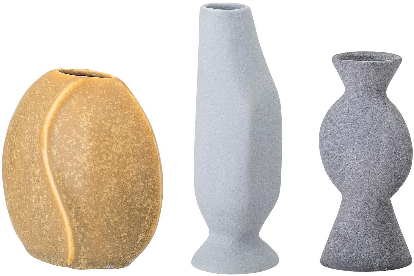 Kleine handgemaakte vazenset Lubava, 3-delig, Keramiek, Geel, lichtgrijs, grijs, Set met verschillende formaten