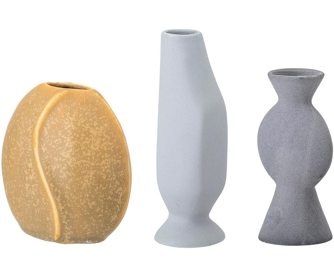 Kleine handgefertigtes Vasen-Set Lubava, 3-tlg., Steingut, Gelb, Hellgrau, Grau, Verschiedene Grössen