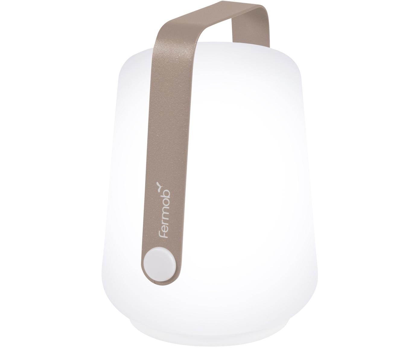 Mobile LED Außenleuchten Balad, 3 Stück, Lampenschirm: Polyethylen, Griff: Aluminium, lackiert, Muskatbraun, Ø 10 x H 13 cm