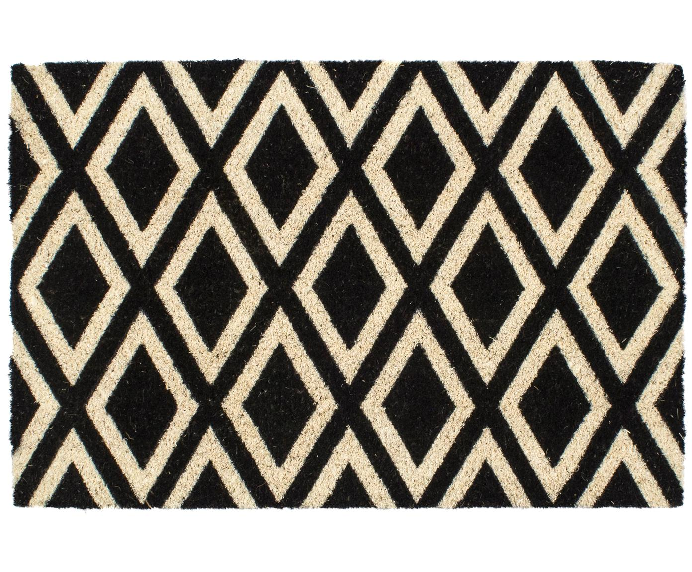 Felpudo Rhombi, Parte superior: fibras de coco, Reverso: plástico (PVC), Negro, crema, An 40 x L 60 cm