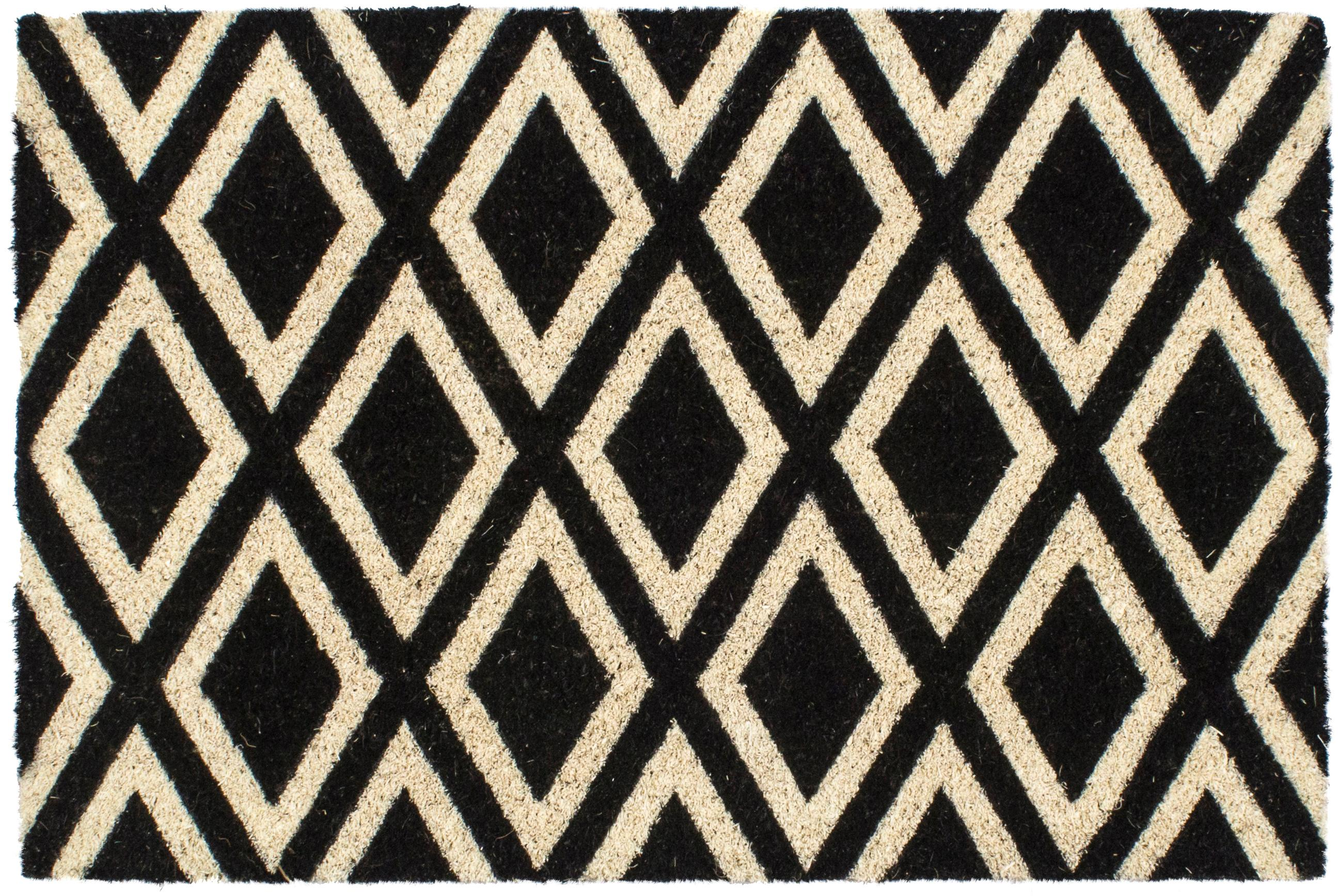 Wycieraczka Rhombi, Czarny, kremowy, S 40 x D 60 cm