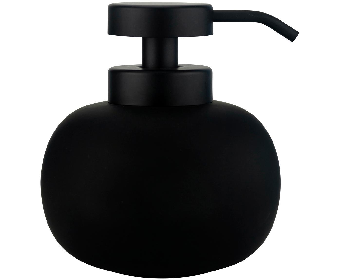 Dosificador de jabón Lotus, Recipiente: cerámica, Dosificador: metal, Negro, Ø 11 x Al 13 cm