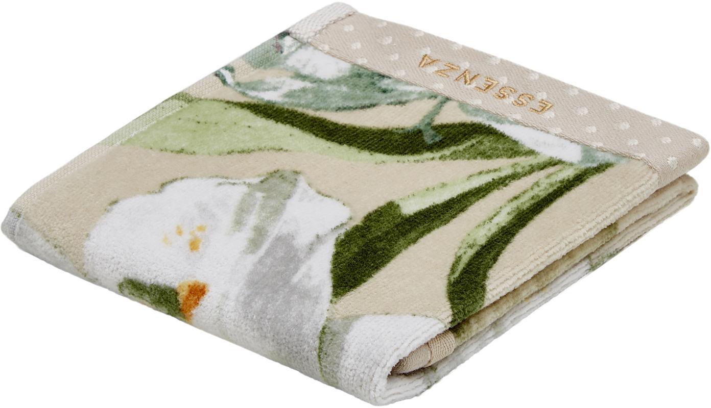 Handdoek Rosalee met bloemenpatroon, Katoen, Beige, wit, groen, oranje, Gastendoekje