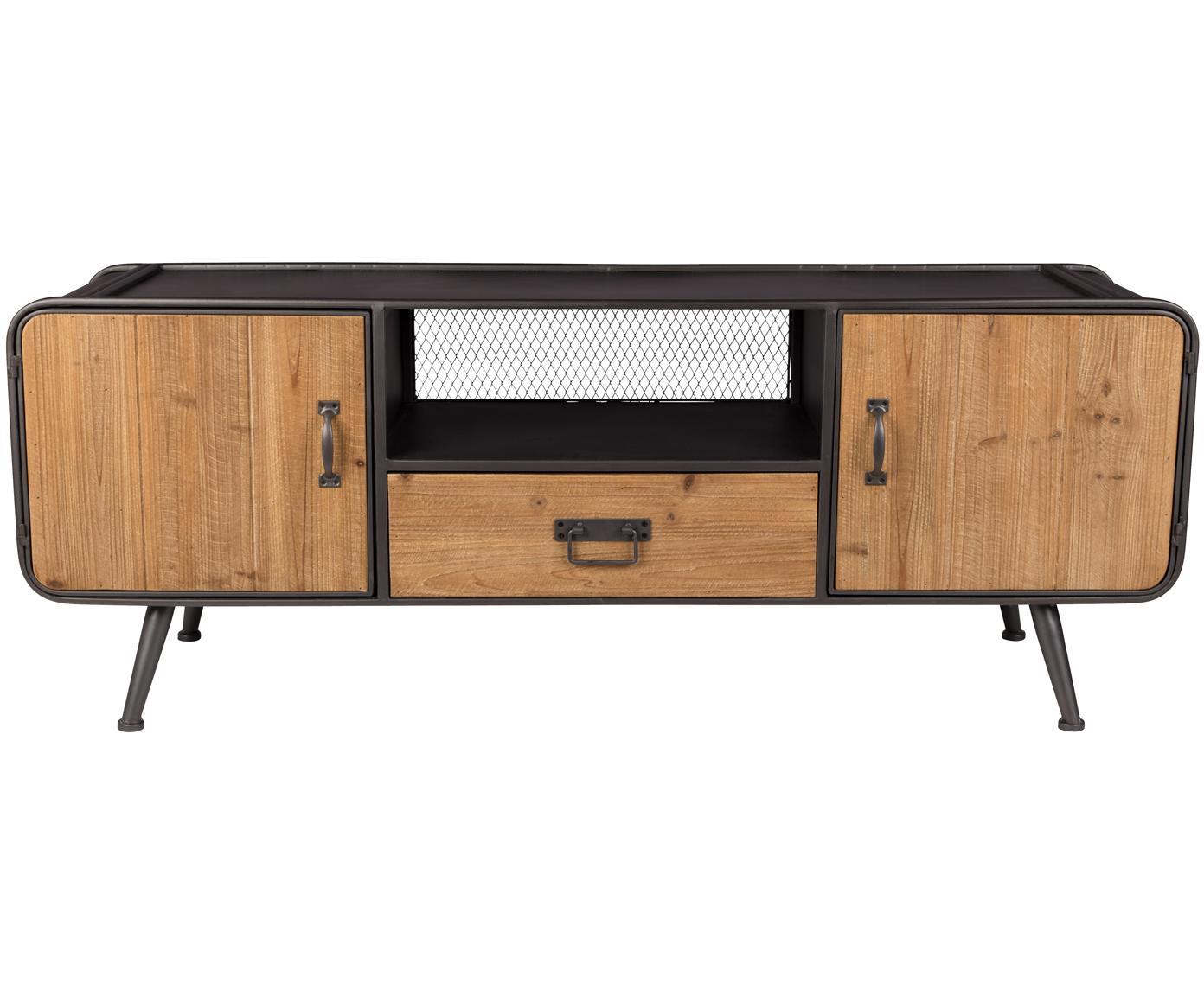 Credenza bassa industrial Gin, Ante, cassetto: legno di abete Maniglie, ante e piedi: grigio, Larg. 135 x Alt. 51 cm