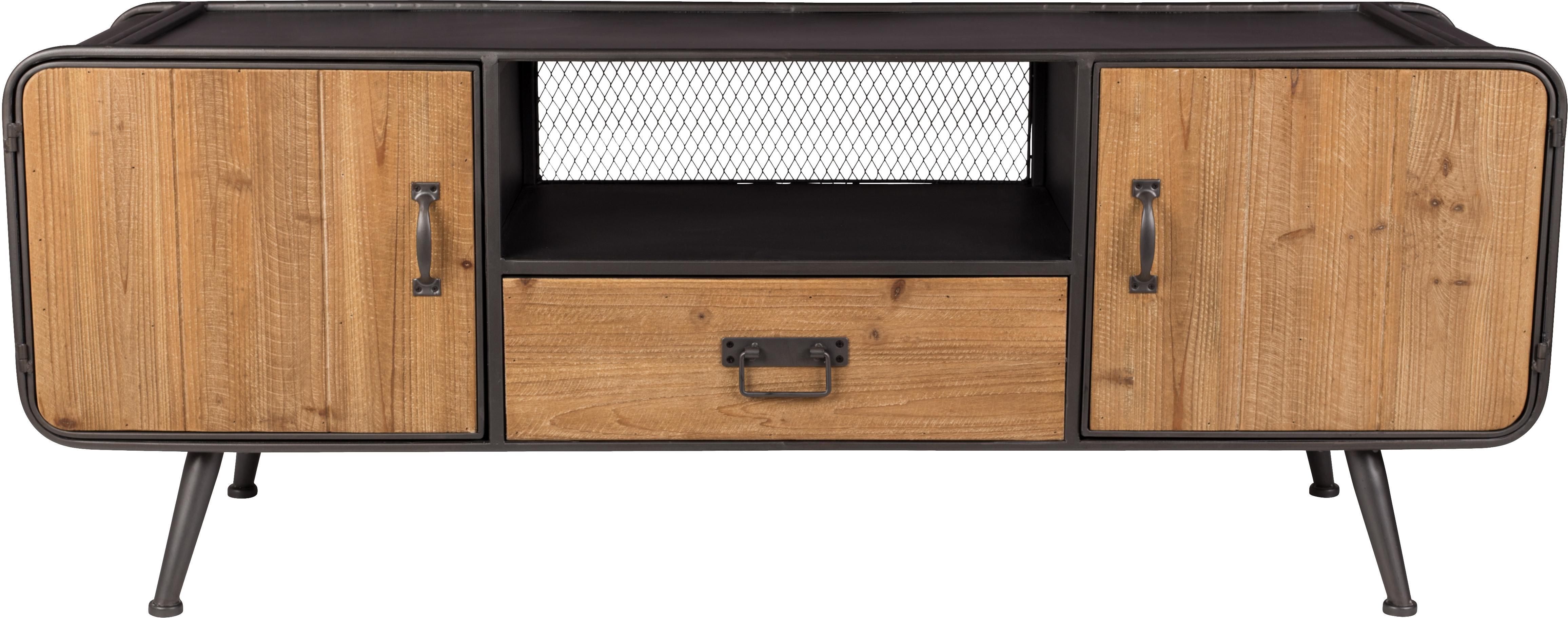 Szafka niska industrial Gin, Drzwi, szuflada: drewno jodłowe  Stelaż, uchwyty i nogi: szary, S 135 x W 51 cm
