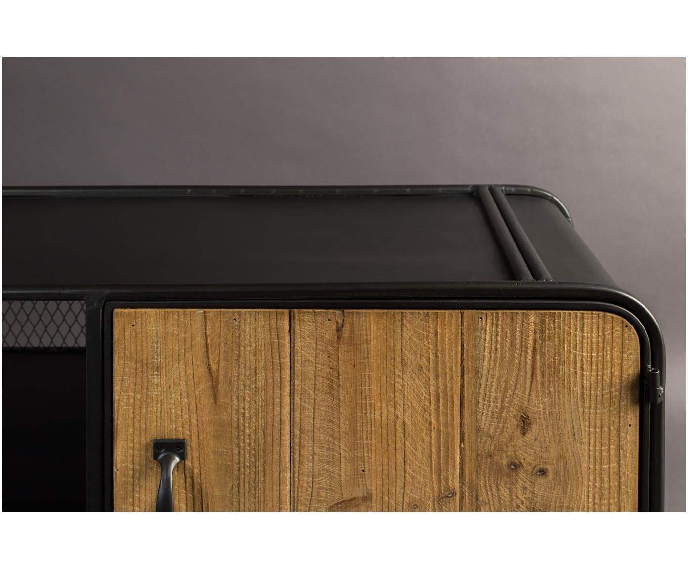Lowboard Gin in industrieel ontwerp, Deuren, lades: dennenhoutkleurig.  Frame, handgrepen en poten: grijs, 135 x 51 cm