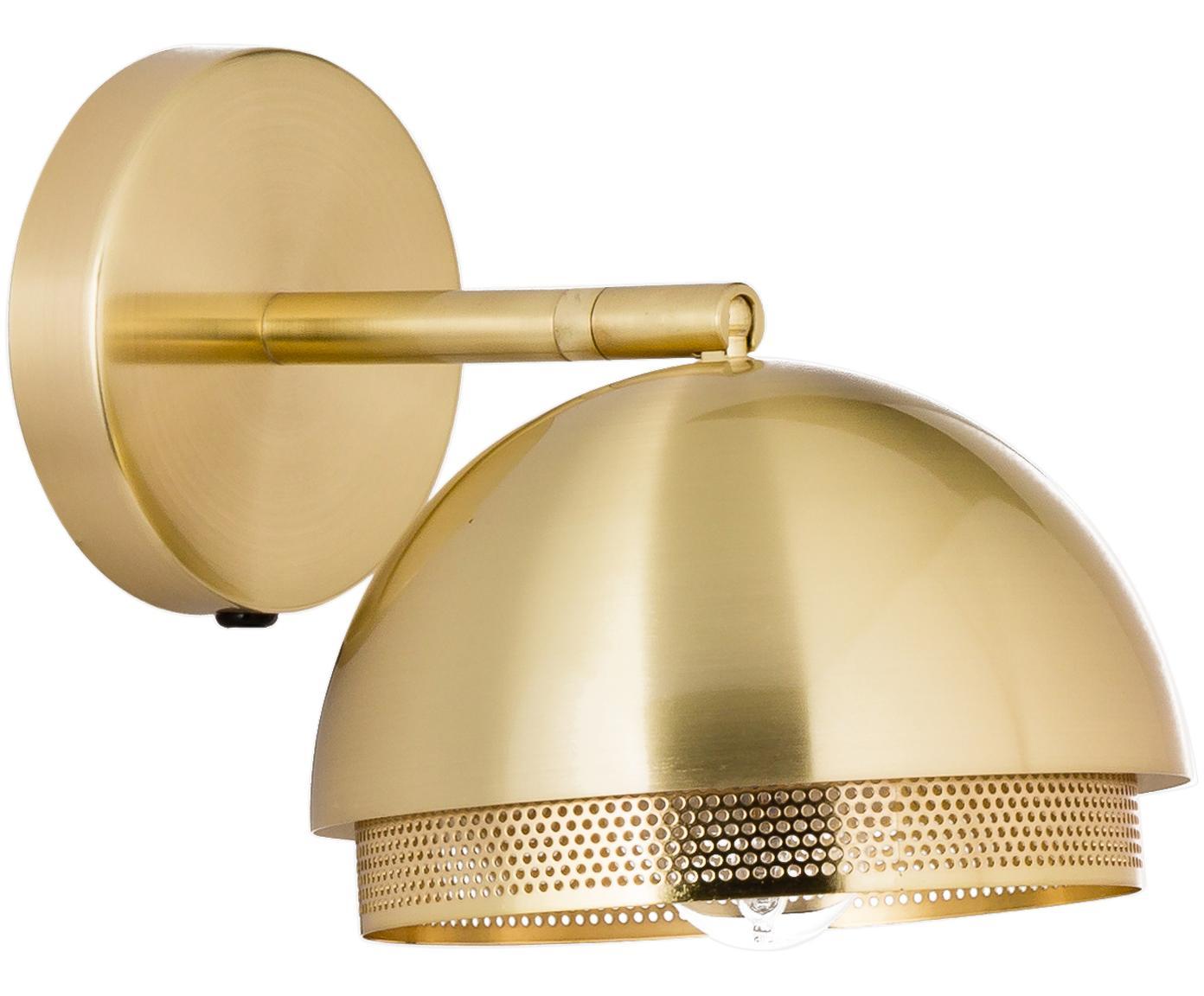 Wandlamp Luis met stekker, Lamp: gecoat metaal, Messingkleurig, Ø 21 x H 28 cm