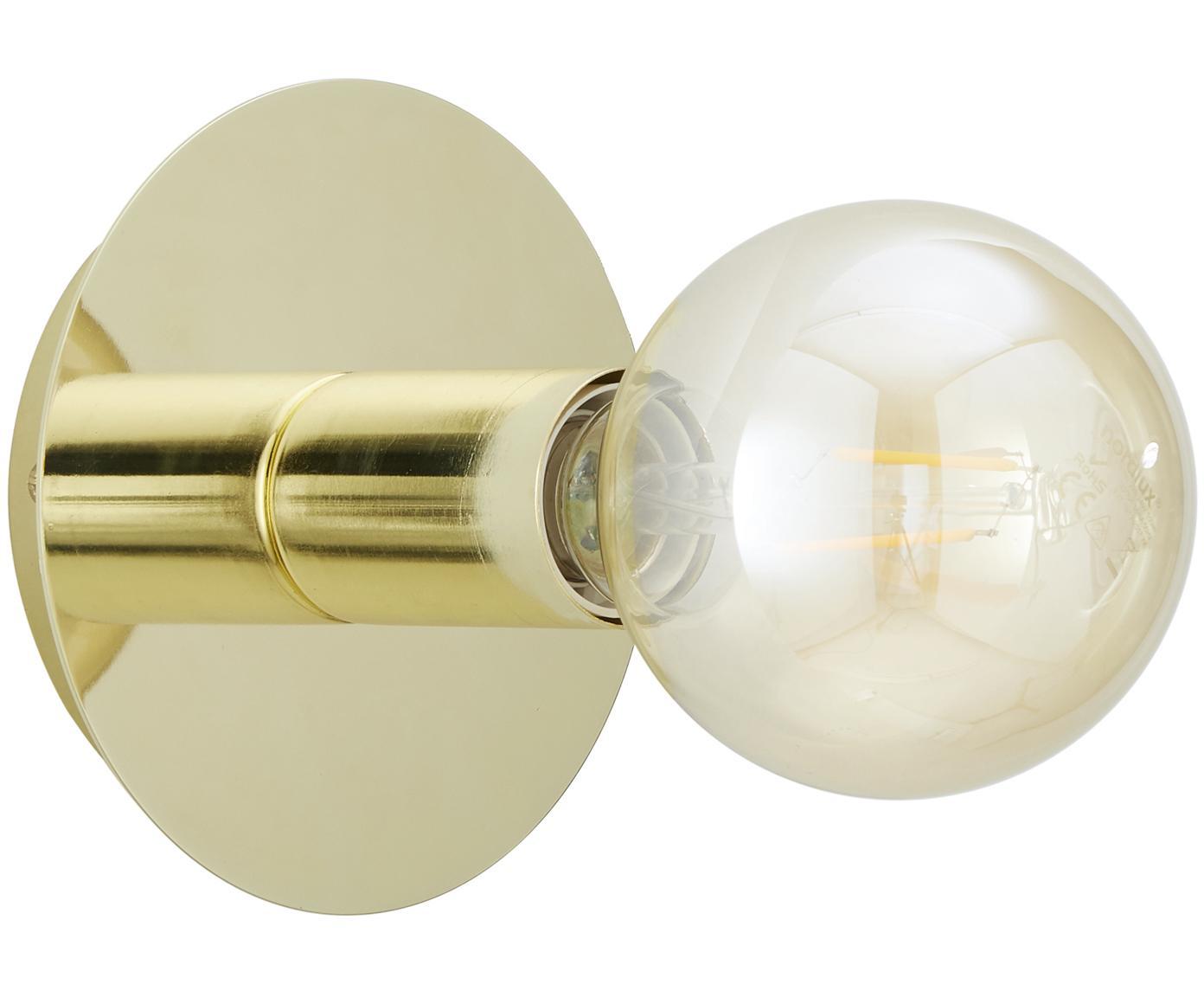 Wandlamp Percy, Vermessingd metaal, Glanzend messing, Ø 14 cm