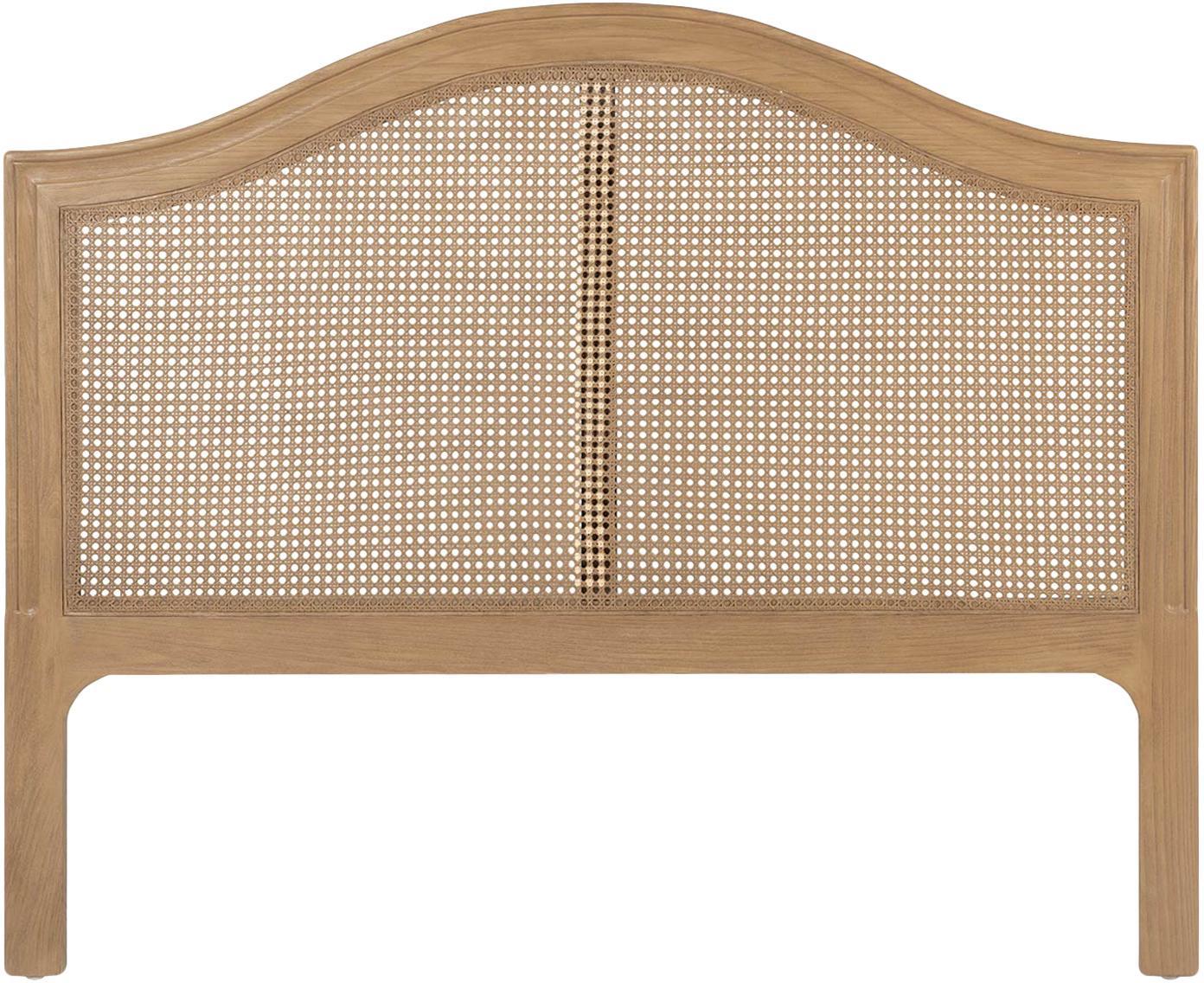 Cabecero Siena, Madera de roble, ratán, Beige, An 105 x Al 120 cm