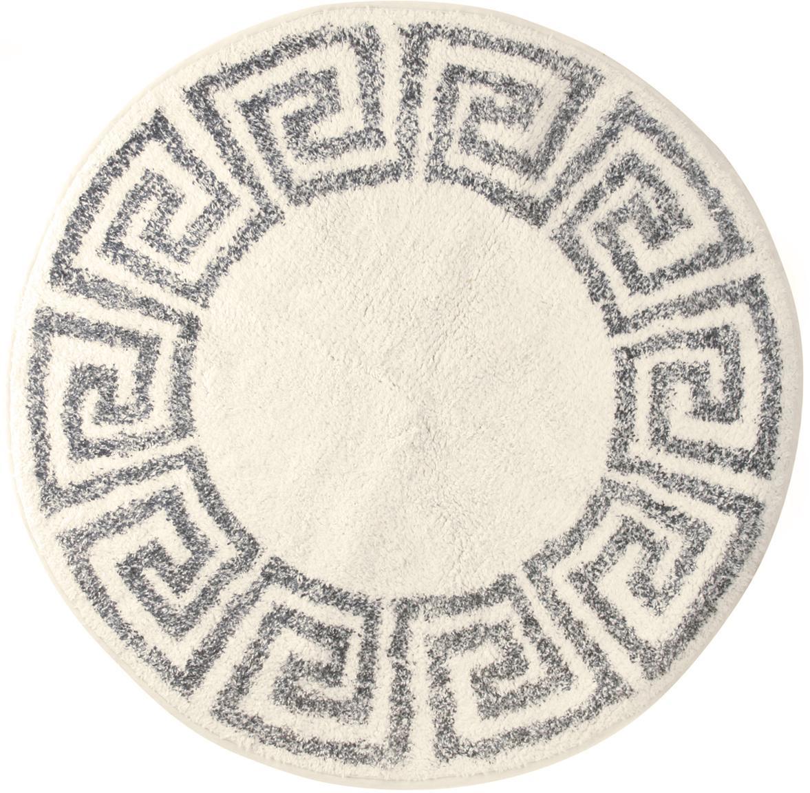 Große runde Badematte Greek, rutschfest, Flor: 100% Baumwolle, Creme, Grau, Ø 120 cm