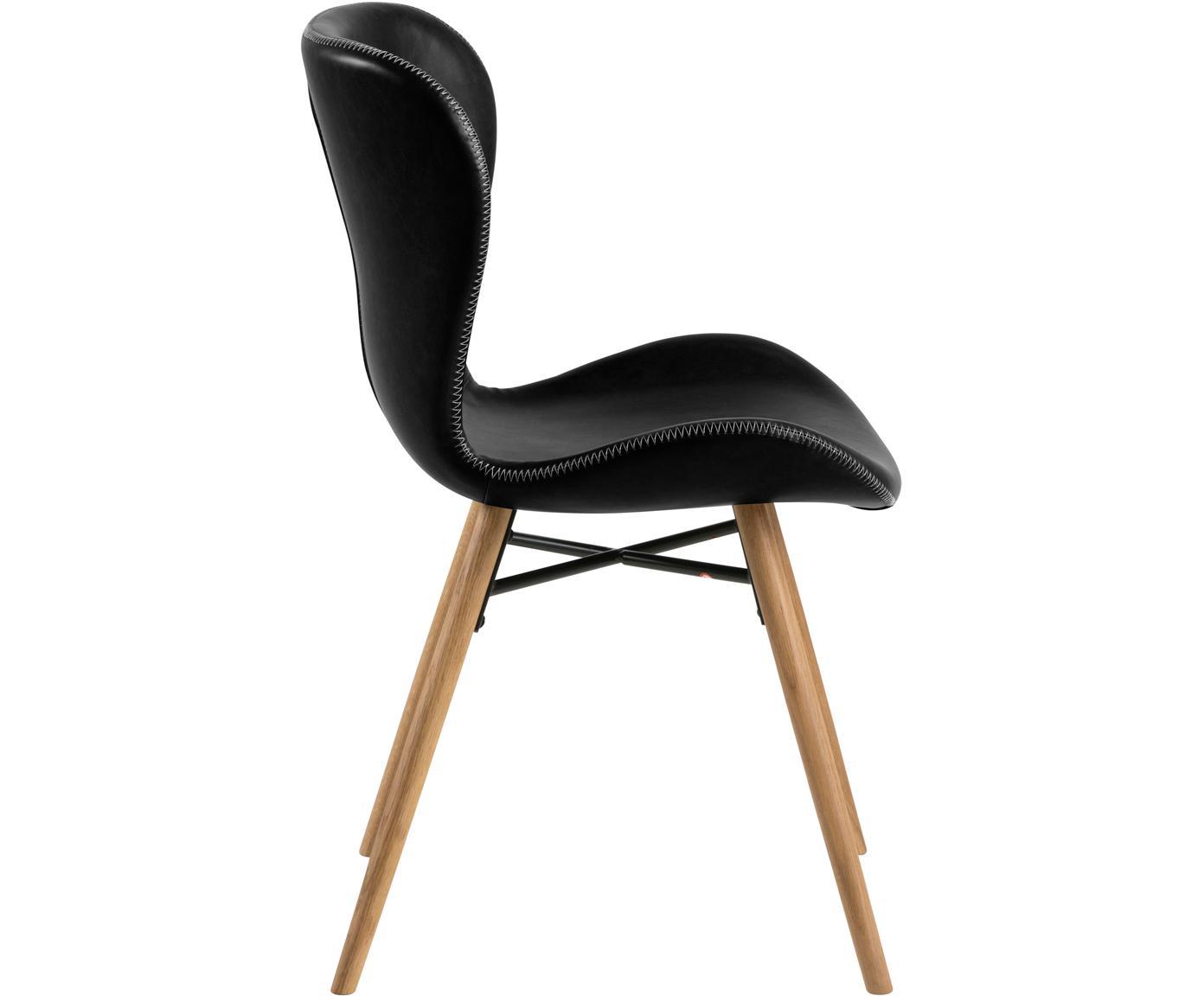 Krzesło tapicerowane ze sztucznej skóry Batilda, 2 szt., Tapicerka: sztuczna skóra (poliureta, Nogi: drewno dębowe, olejowane, Czarny, S 56 x G 47 cm