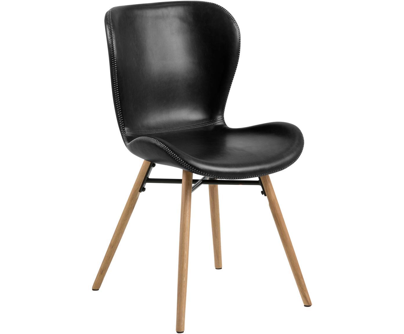 Kunstleren stoelen Batilda, 2 stuks, Bekleding: polyurethaan (kunstleer), Poten: geolied eikenhout, Zwart, B 56 x D 47 cm