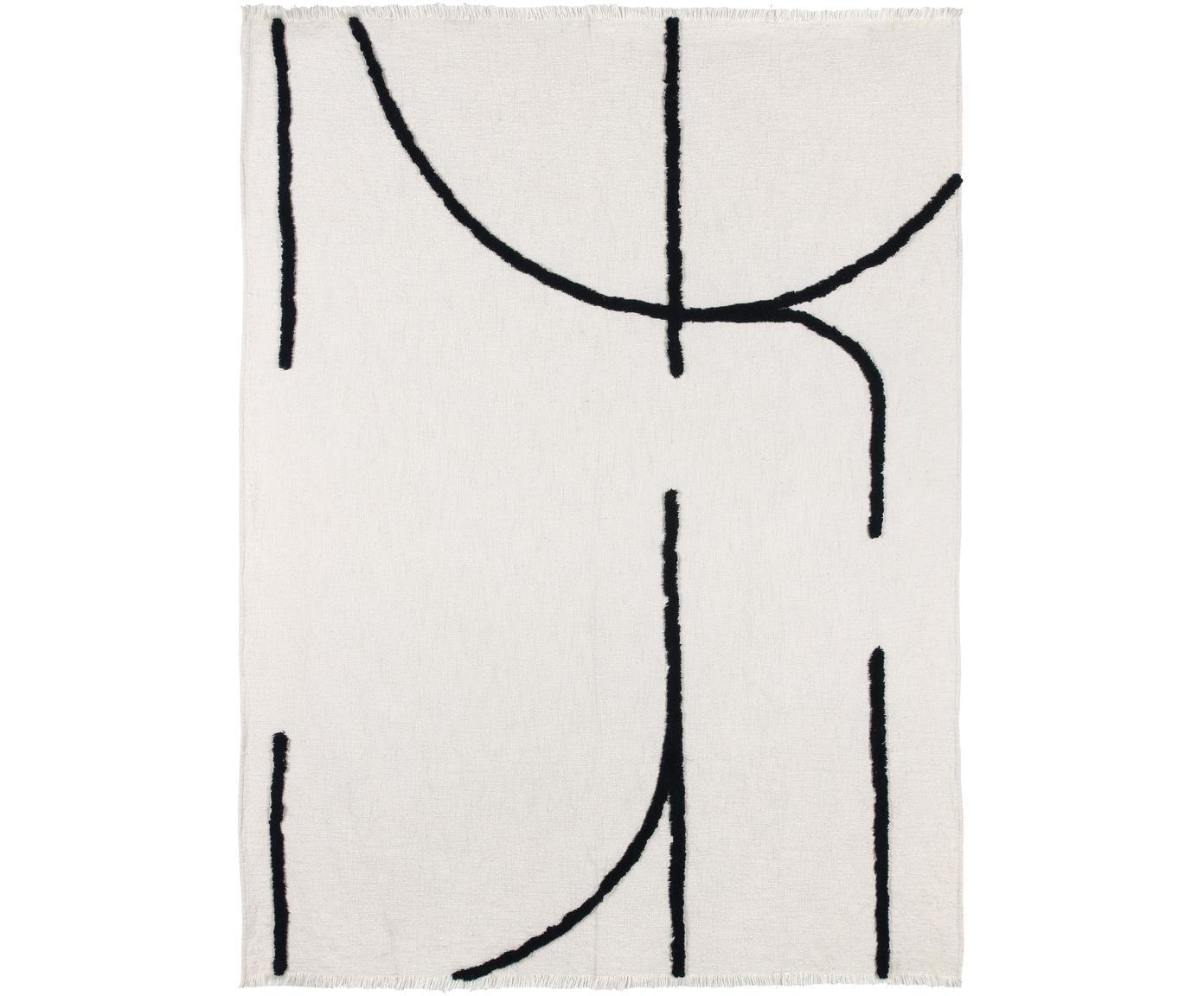 Boho Plaid Lina mit Fransenabschluss und getufteter Verzierung, 70% Baumwolle, 30% Polyester, Gebrochenes Weiß, Schwarz, 130 x 170 cm