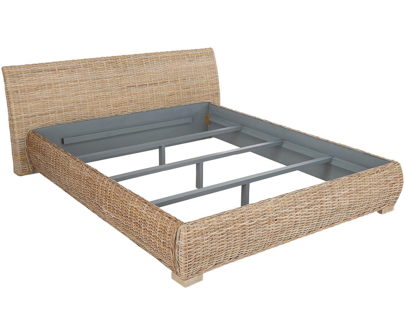 Łóżko z rattanu Kubu, Rattan, 160 x 200 cm