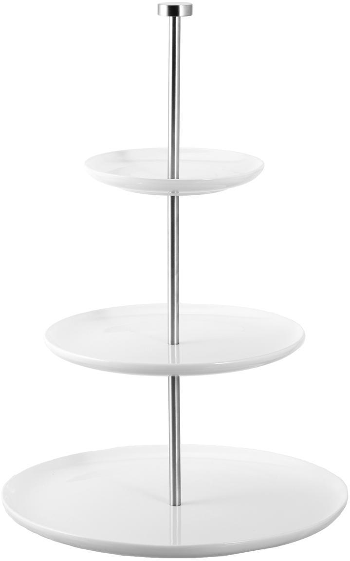 Alzata Karo, Ceramica, metallo, Bianco, Ø 30 x Alt. 47 cm