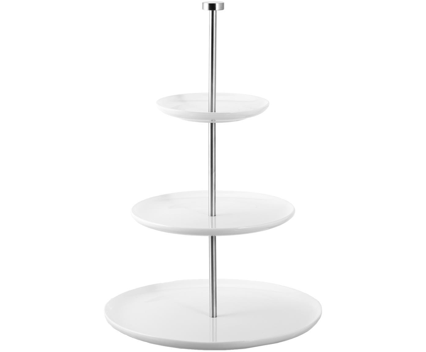 Fuente 3 pisos Karo, Cerámica, metal, Blanco, Ø 30 x Al 47 cm