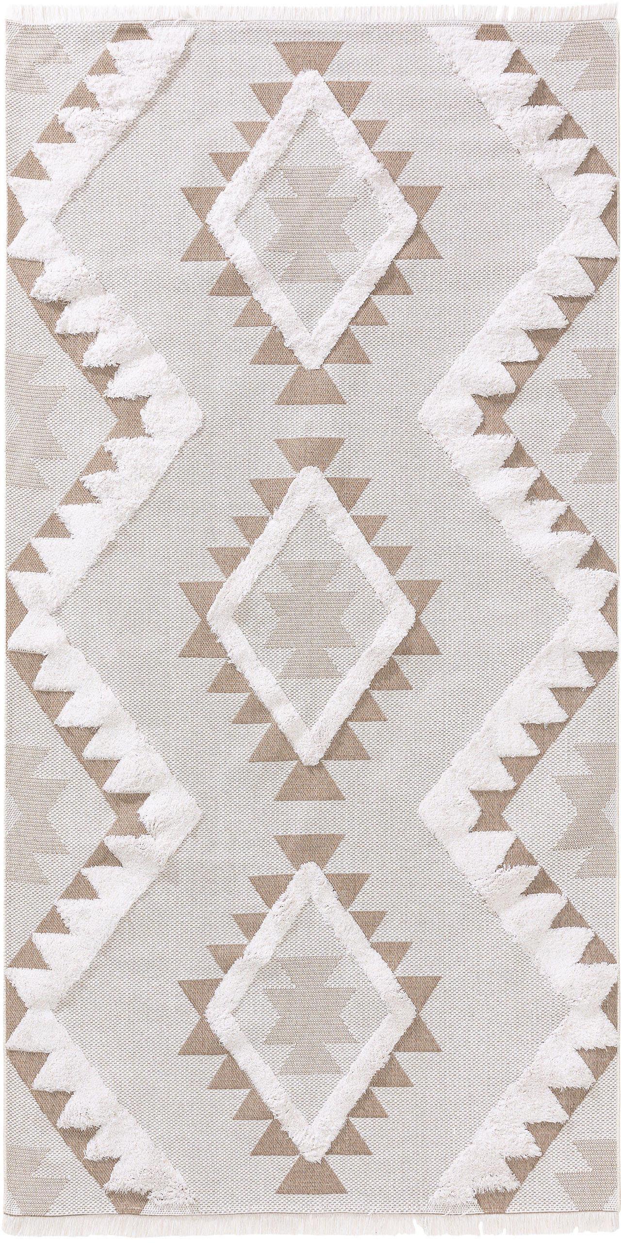 Wasbare katoenen vloerkleed Oslo Aztec met hoog-laag structuur, 100% katoen, Crèmewit, taupe, B 75 x L 150 cm (maat XS)