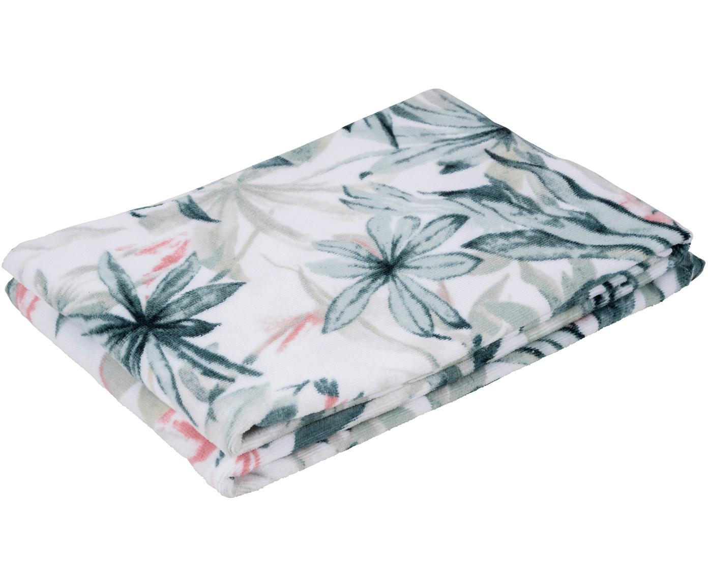 Handtuch Foglia mit tropischem Muster, 100% Baumwolle, Weiß, Mehrfarbig, Gästehandtuch