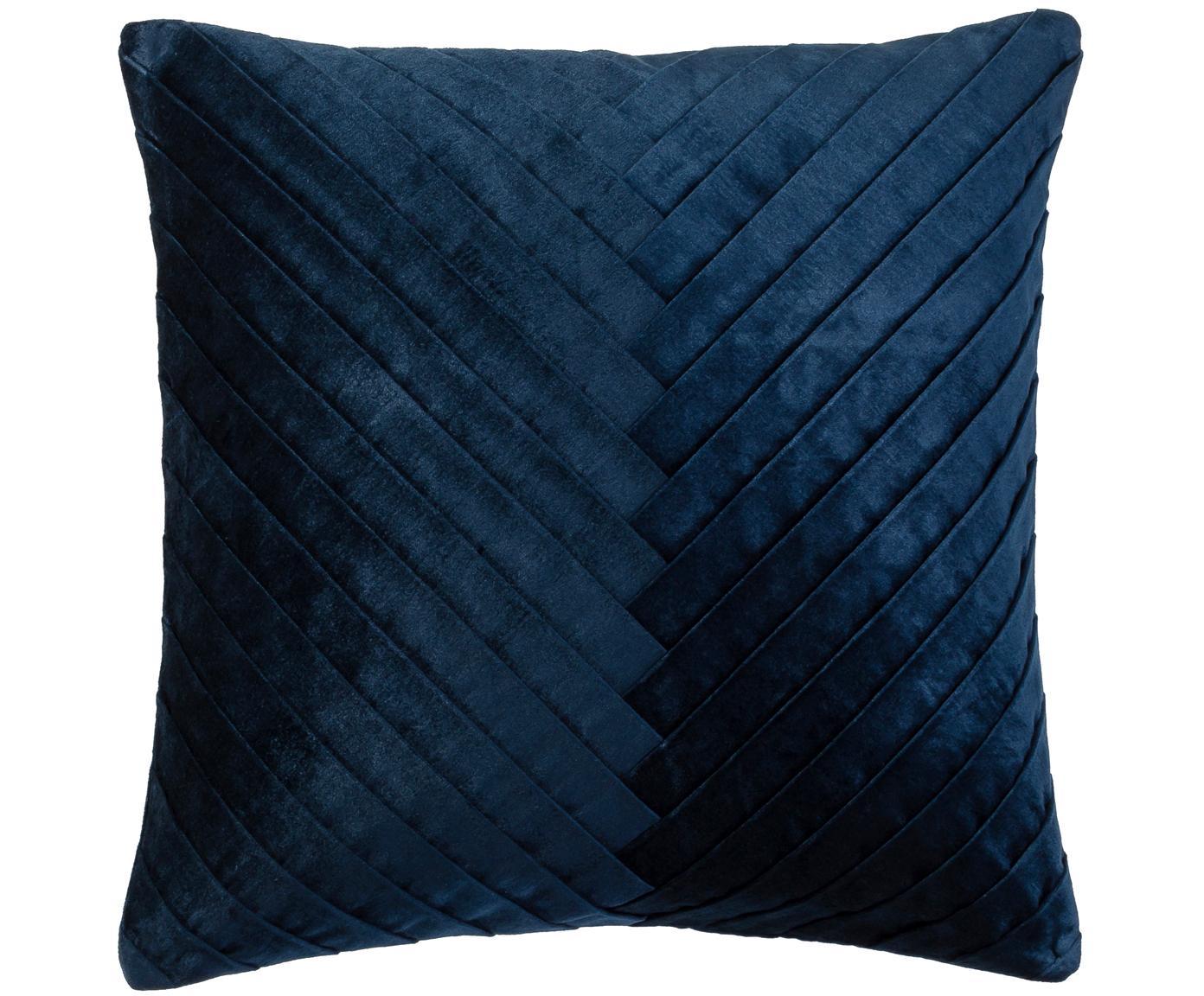 Poszewka na poduszkę z aksamitu Betty, 50% bawełna, 50% wiskoza, Ciemnyniebieski, S 50 x D 50 cm
