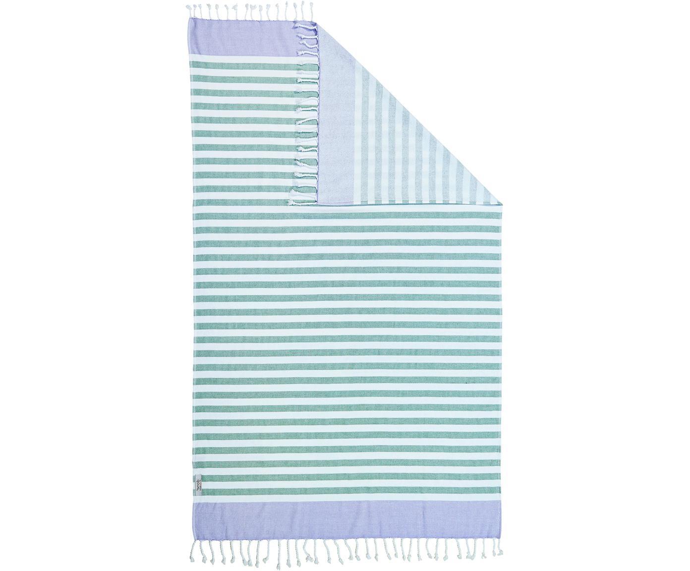 Gestreiftes Hamamtuch Cairo mit Frottee-Rückseite, Grün, 90 x 160 cm