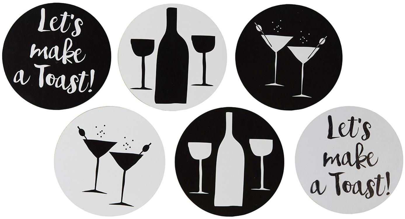 Set de posavasos Oberon,6pzas., Parte superior: corcho con estampado, Blanco, negro, Ø 10 x Al 1 cm