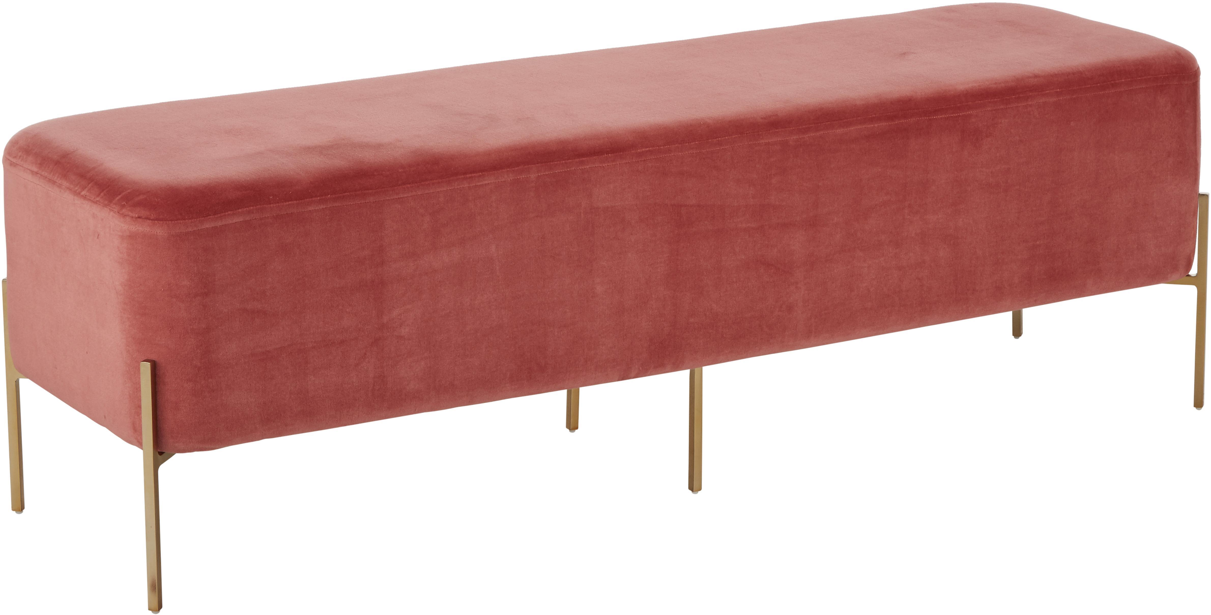 Ławka z aksamitu Harper, Tapicerka: aksamit bawełniany, Tapicerka: terakota Noga: odcienie złotego, matowy, S 140 x W 45 cm