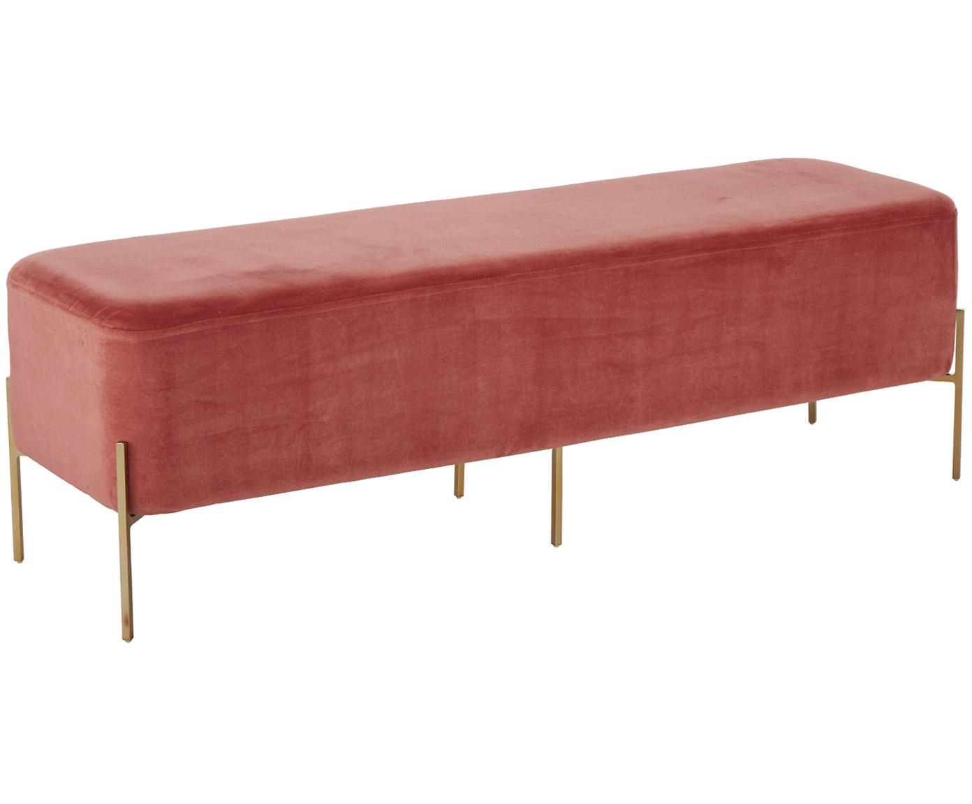 Fluwelen bank Harper, Bekleding: katoenfluweel, Poten: gepoedercoat metaal, Bekleding: terracotta. Poten: mat goudkleurig, 140 x 45 cm