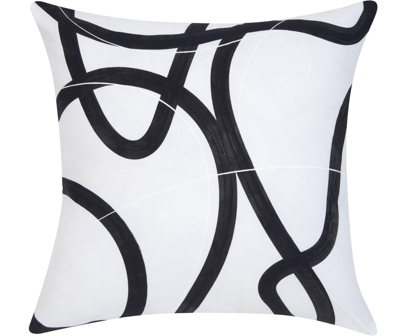 Poszewka na poduszkę Elijah, Bawełna, Beżowy, czarny, biały, S 40 x D 40 cm
