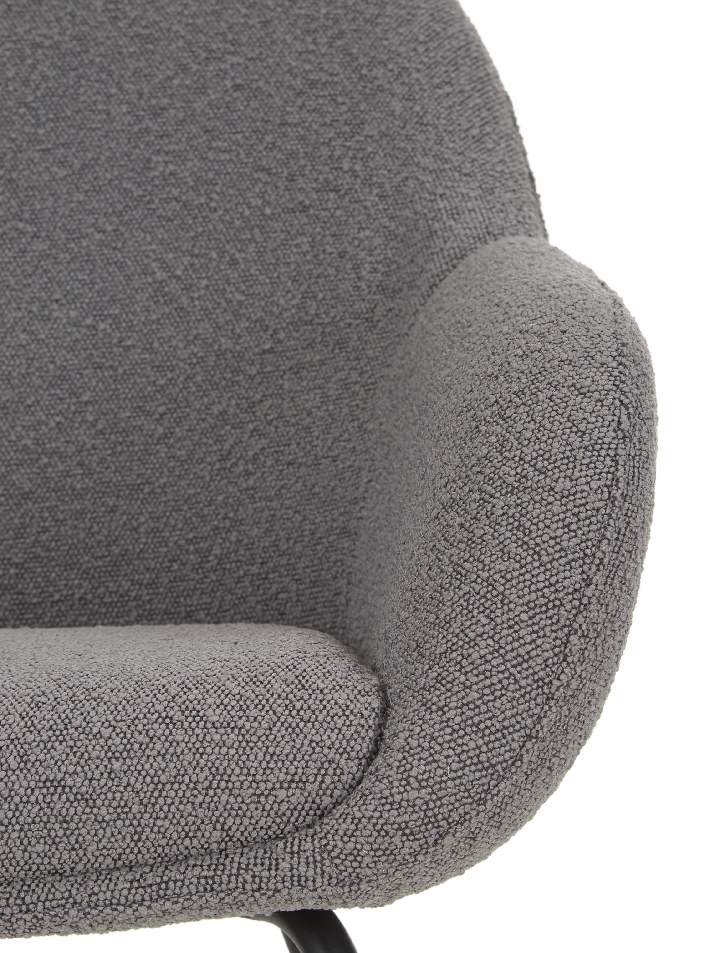 Fauteuil Jana, Bekleding: polyester (teddyvacht), Poten: gepoedercoat metaal, Teddy grijs, B 72 x D 68 cm