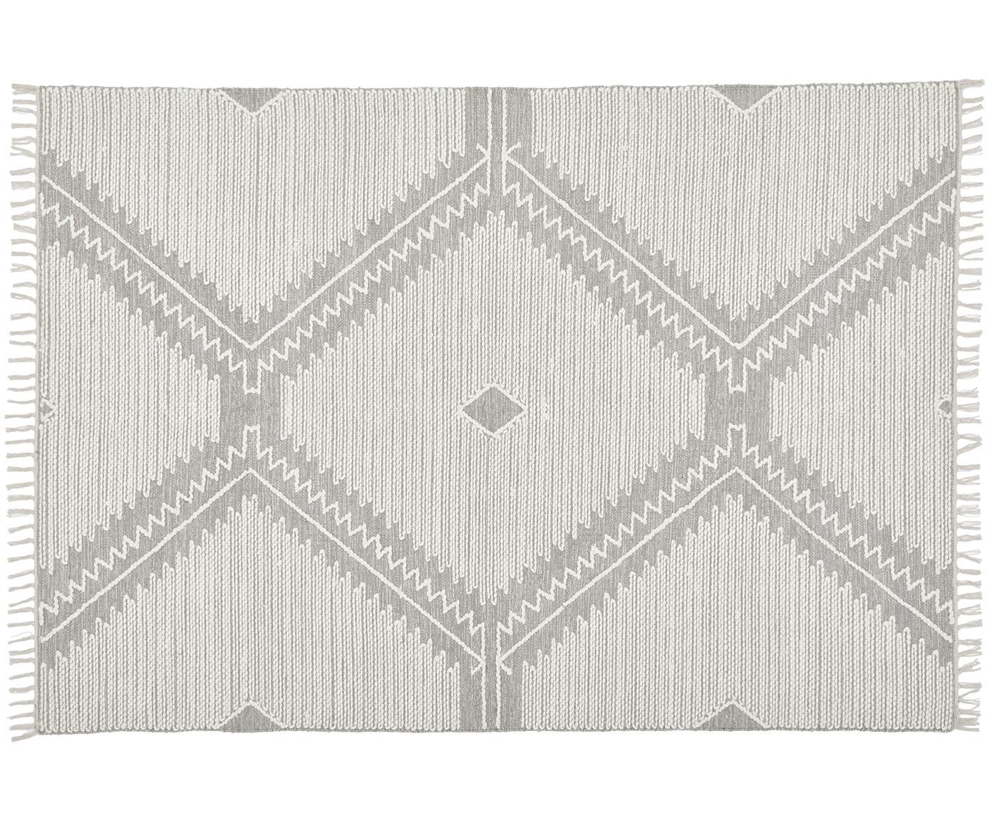 Handgewebter Teppich Karola mit Hoch-Tief-Struktur, Grau, Cremeweiß, B 160 x L 230 cm (Größe M)